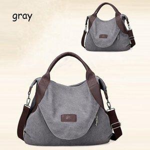 Handbags - Canvas Medium Volume Tote Backpack - Gray